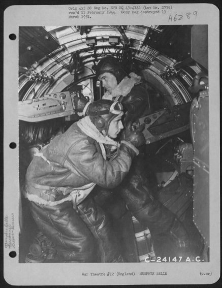 Casimer A. Nastal (right) and Clarence E. Winchell (left) in their positions after take off.