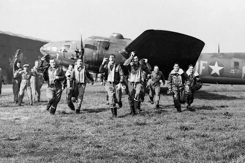 This beautiful photo shows the happiness of the Memphis Belle crew at the completion of their 25th mission. Many continue the war in other departments. Pilot Robert Morgan flew another 26 missions on the B-29s in the Pacific. (National Archives credits)
