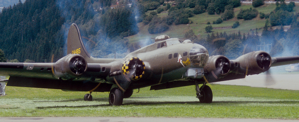 The B-17 Memphis Belle in the moment of take-off